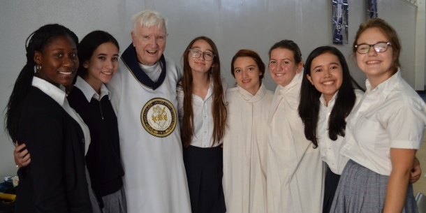 IH students with Bishop Sylvester Ryan